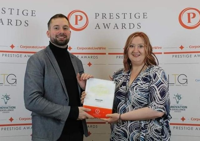 Nicola Brooksbank collected her plaque which will be displayed at the Queen Street Cafe Bistro