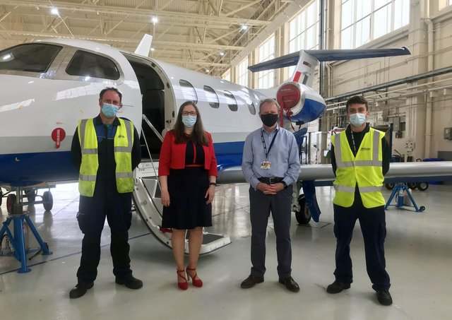 From left - Mark Damme, Affinity Driver/Handler; Dr Caroline Johnson MP; Affinity Managing Director Iain Chalmers and Sam Craft, Affinity Aircraft Technician. Photo: Affinity Flying Training Services May 2021 EMN-210528-172348001