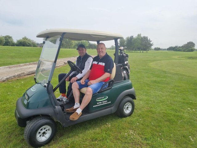 Wayne Burgess and Michael Nadolny are also members of Coastfield's Mablethorpe golf course and said it was great to be back.