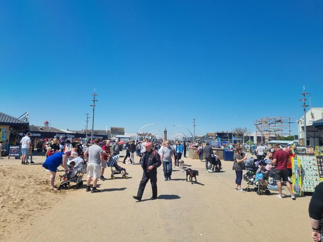 Crowds heading to the beach in Skegness on Bank Holiday Saturday.