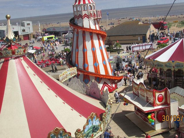 Birds eye view of Skegness on Bank Holiday Sunday.