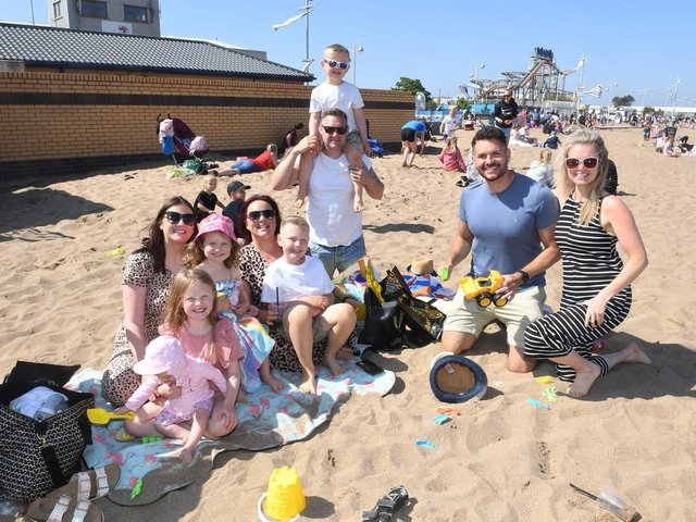 Baby Aria Ellis visited Skegness beach for the first time with her parents and their friends the Browns from Shropshire and the Vines from Skegness.