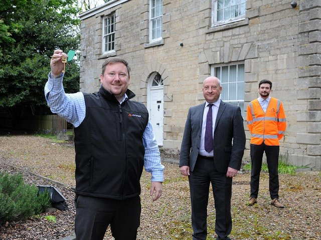Dave Carter, Build Director at Lightspeed Broadband (front), with Simon Stone, Retailer Director at Springfields, and Sean Milligan, Build Manager at Lightspeed Broadband (back) in front of Lightspeed Broadband's new headquarters, Fulney Hall, which Lightspeed will sensitively restore.