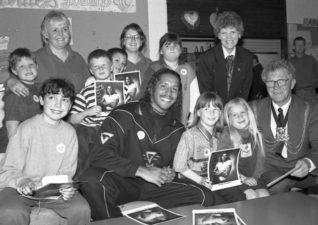 Boston's Gladiator champions Mark Everitt pictured with mayor Coun Albert Tebbs and children at Focus One Youth Centre.