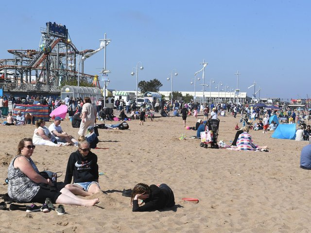 A busy Skegness beach on Bank Holiday Monday.
