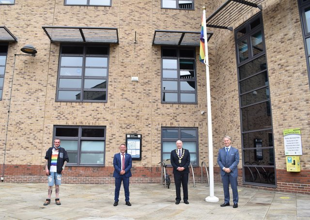 From left:  Simon Hedison (member of the Gainsborough LGBT group), Gainsborough Town Councillor Baptiste Velan, Chairman of West Lindsey District Council Councillor Steve England and Chief Executive of WLDC, Ian Knowles.