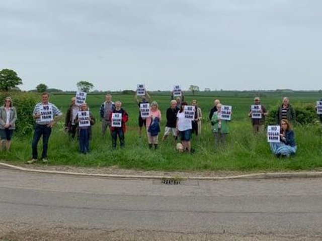 Residents of Pickworth, Newton and Walcot protesting a proposed wind farm. Pictured at the South Kesteven site looking south towards Pickworth.