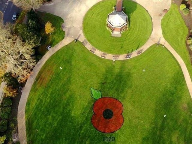 The giant poppy created in the centre of Tower Gardens for Remembrance Day 2020. Now a field of poppies is to be created in Skegness Town Centre to raise awareness of the 91st anniversary of the local branch of the Royal British Legion.