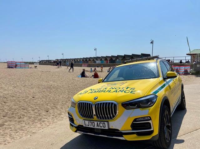 The new Critical Care Car on Mablethorpe beach.