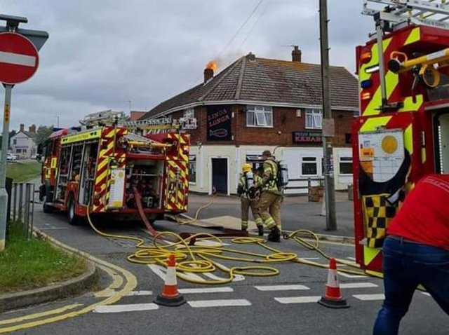 Firefighters at the Linga Longa in Skegness.