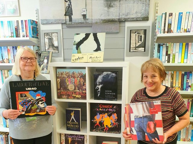 Lindsey Lodge Bookshop volunteers Vivienne (left) and Mercedes (left) are pictured getting ready for Record Store Day