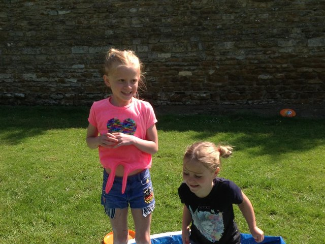 Dotty Dixon and Athena Woodward at Caythorpe primary school's beach day.