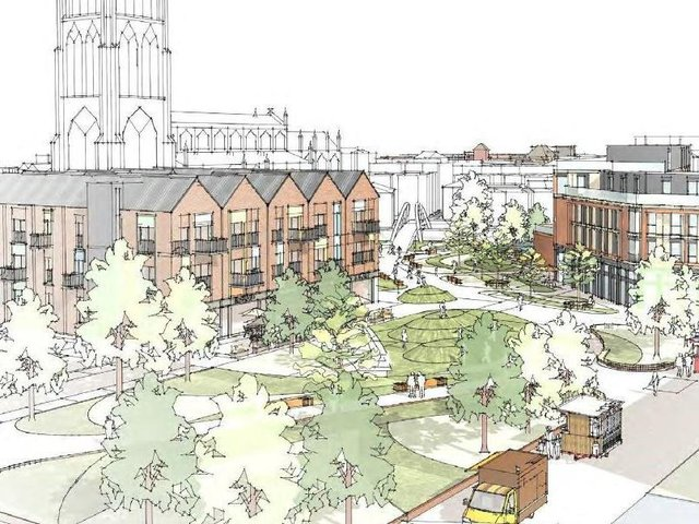Artists' impression of how the new greener town centre would look