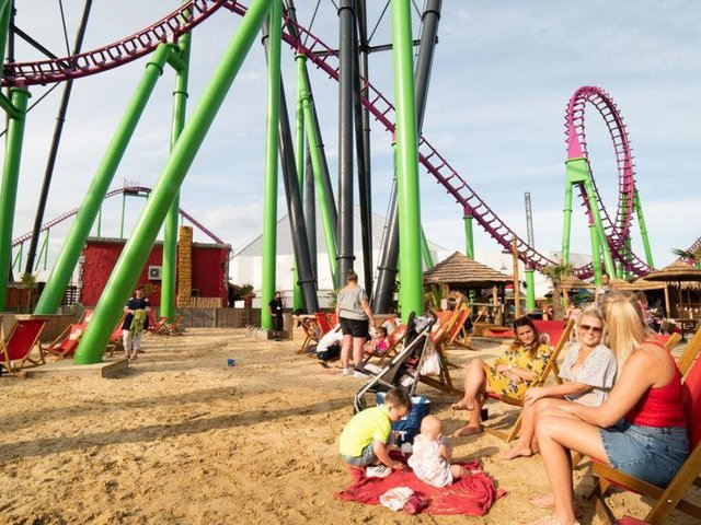 Love is in the air at the beach on Fantasy Island in Skegness.