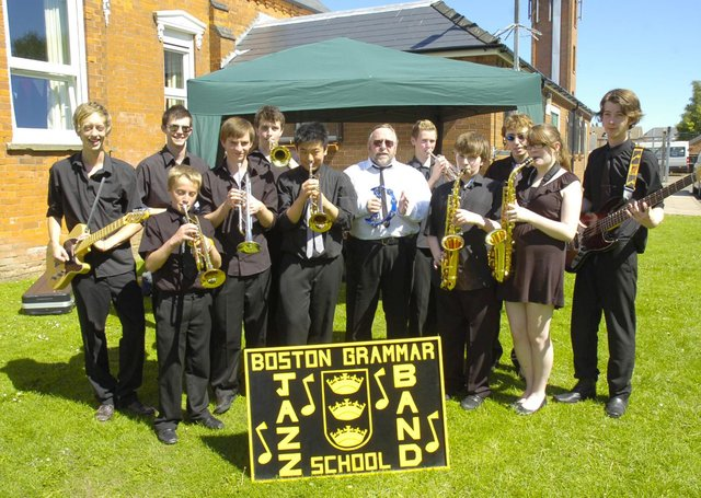 Members of the Boston Grammar School Jazz Band.