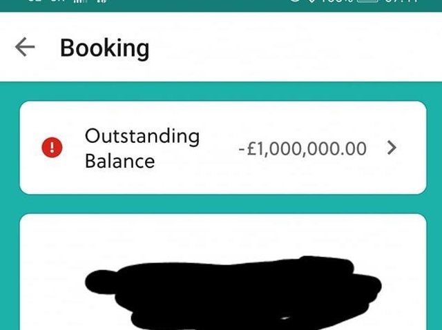 Screen grab of the outstanding balance for a holiday at Butlin's in Skegness for three adults and three children.