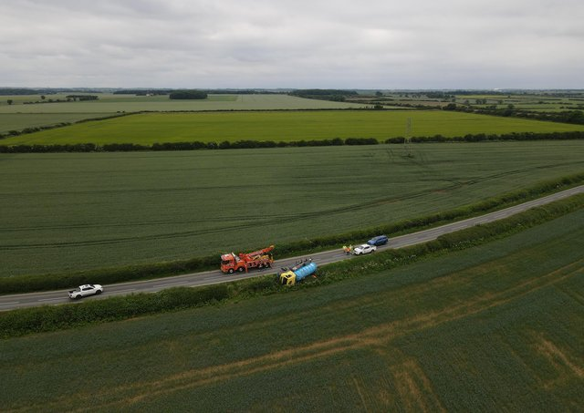 Surrounded by fields. The B1188 had to be closed for an hour or two yesterday afternoon (Thursday) to right an HGV tanker that had run off the road that morning. Photo: John Siddle EMN-210625-110136001