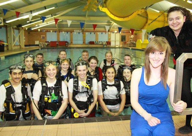 Splash course ... Pictured are Annabel Charlton and Sophia von Werne with some of the divers.