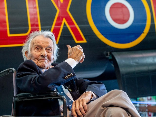 Fred Pearce enjoying his 100th anniversary at East Kirkby Heritage Aviation Museum.