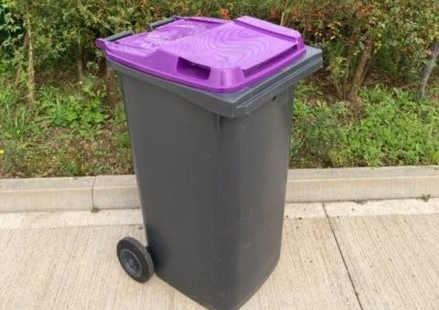 A purple-lidded bin like the ones that could be rolled out to all doorsteps in North Kesteven by September.