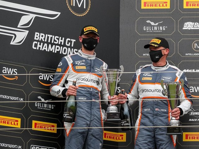 Lewis and Stewart on the podium.