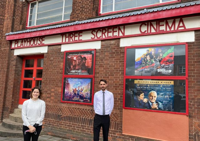 Victoria Atkins MP and manager James Pickworth outside the Playhouse Cinema in Louth.