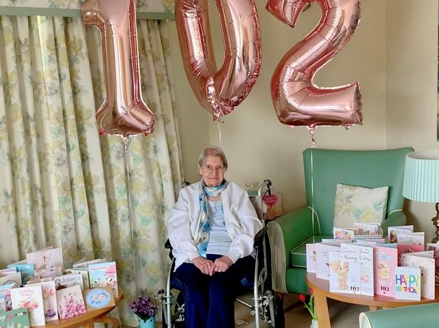 Joan Mace celebrated her 102nd Birthday at Cloverleaf Care Home in Lincoln