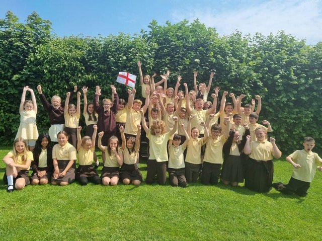 Excited pupils at the Richmond School in Skegness ahead of the Euro 2020 final between England and Italy on Sunday.