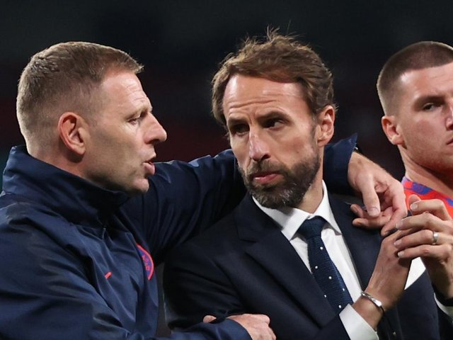 Jones and Southgate after defeat to Italy. Photo: Getty Images