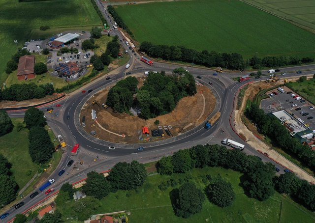 Work is midway through on the Holdingham roundabout upgrade project. EMN-210713-234214001