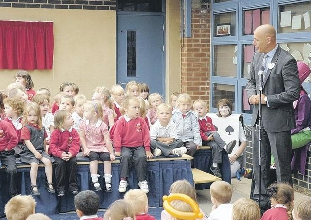 World Cup 2010 final referee Howard Webb pays a visit to Church Lane School, Sleaford.