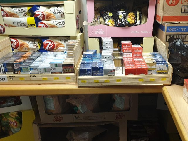 Some of the seized cigarettes at the shop