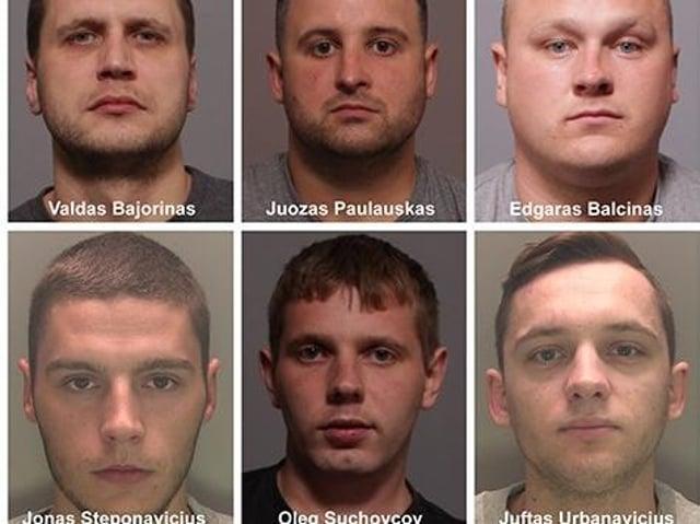 Six of the seven man gang