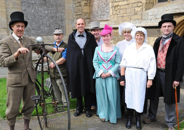 Pictured, from left, Andrew West and Brian Addison of the Boston Veteran Cycle Club with Bennington Community Heritage Trust members Kevin Pinner, Robert Bell, Kerry Francis, Irene Presgrave, Judy Crowe and Peter Aiers - Churches Conservation Trust.