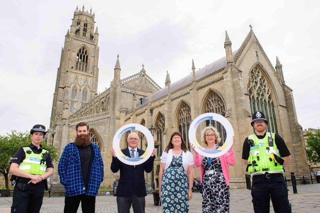 #BeBoston campaign launched by Boston Borough Council.  Pictured, from left, Fran Harrod, (Boston Neighbourhood Policing Inspector) Ben Gardner (influencer), Coun Paul Skinner, Coun Judith Skinner, Coun Yvonne Stevens, PC Will Robson. Photo: Chris Vaughan Photography.