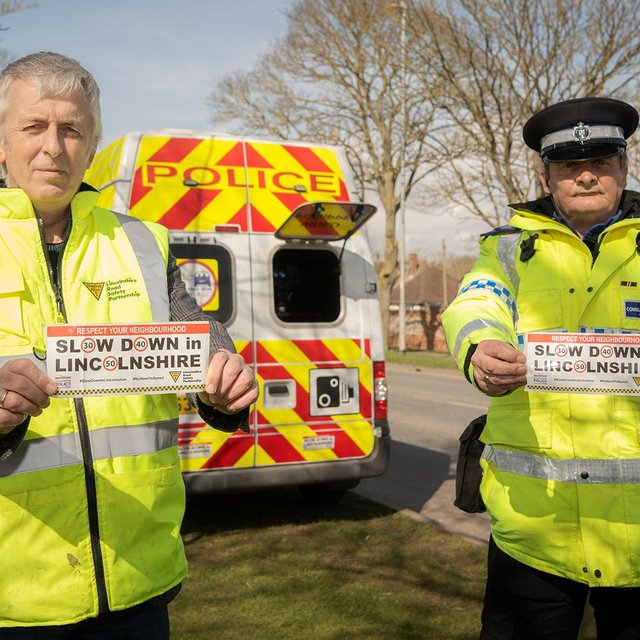 John Siddle from the Lincolnshire Road Safety Partnership, and PCSO Dave Bunker, who thought up the bumper sticker campaign