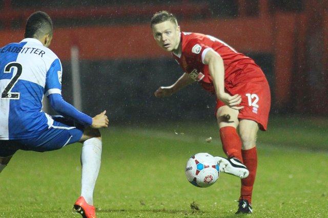Tom Shaw in action for Alfreton Town during his playing days.