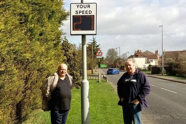 Jon Harper, chair of Scotter Parish Council and Brian Gilchrist, founder of Scotter Community Speedwatch