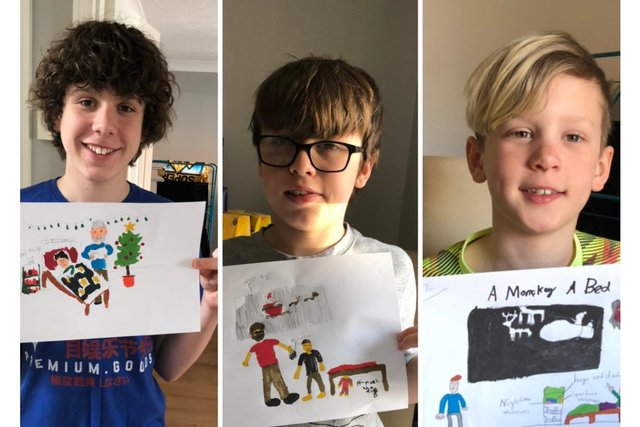 Harry, George, and Charlie with their initial designs