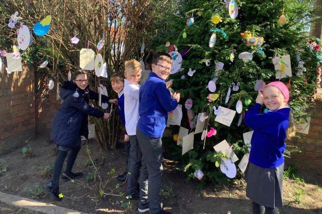 Pupils from Morton Trentside Primary School made and hung decorations on Eliot House's Easter Tree