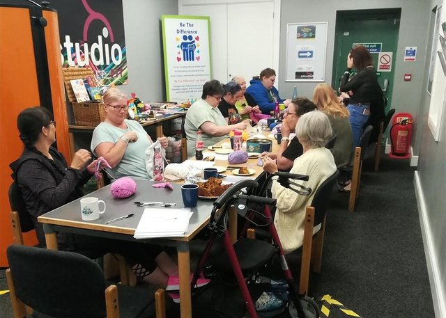 A 'knit and natter' group is held every Wednesday