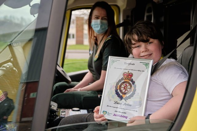 Lucas helped raise £1,500 for The Ambulance Staff Charity by walking 978,824 steps in March