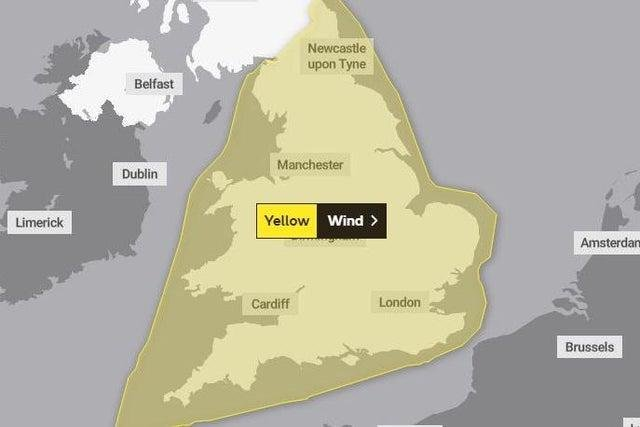 The weather warning is in place from 9pm on Wednesday