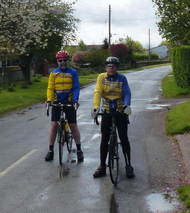 Gainsborough Aegir Cycling Club members, Geoff Garner and Trevor Halstead in Grayingham.