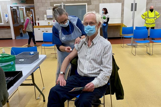 Daniel Bardsley, aged 80, getting his vaccine