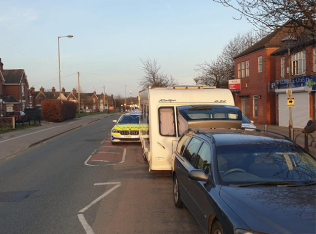 Officers became suspicious of driver in a car towing a caravan in the Forest Road area of Ollerton.